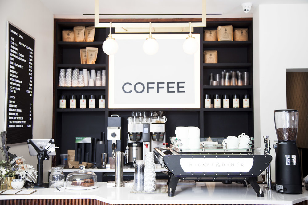 The café at the entrance features Brooklyn-based  Nobletree Coffee .