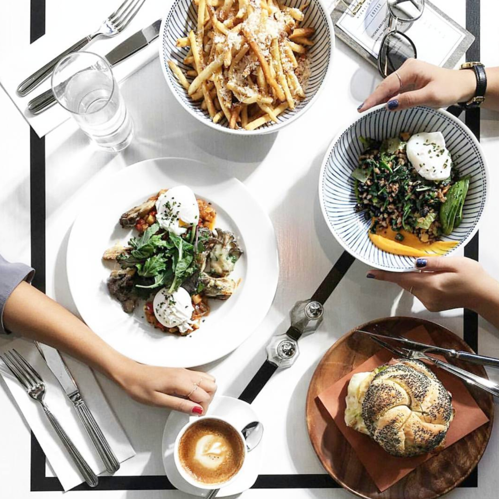 Influencers often use the lines on the tabletops as a guide to stage their food photography.  (Photo by  Aileen Chua ).