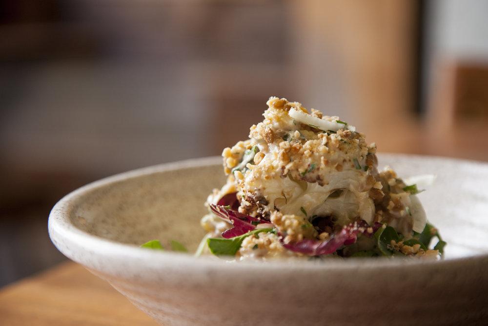 The roasted cauliflower salad.