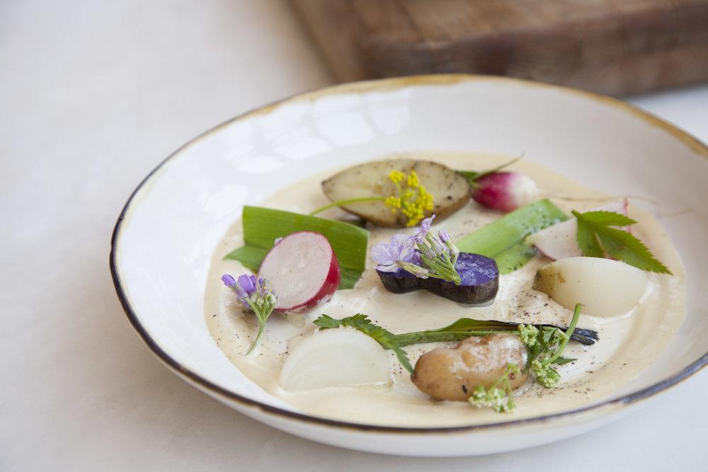 Bluefish tonnato with market vegetables.