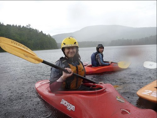Shania whitewater kayaking on the Penobscot River