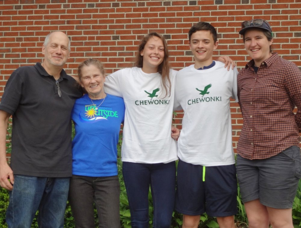 (left to right) Outing Club Advisor Ralph Keyes, T3 Founder Carol Leone, Maria West, Gage Varian, and Chewonki's Summer Wilderness Trips Coordinator Jen Adams