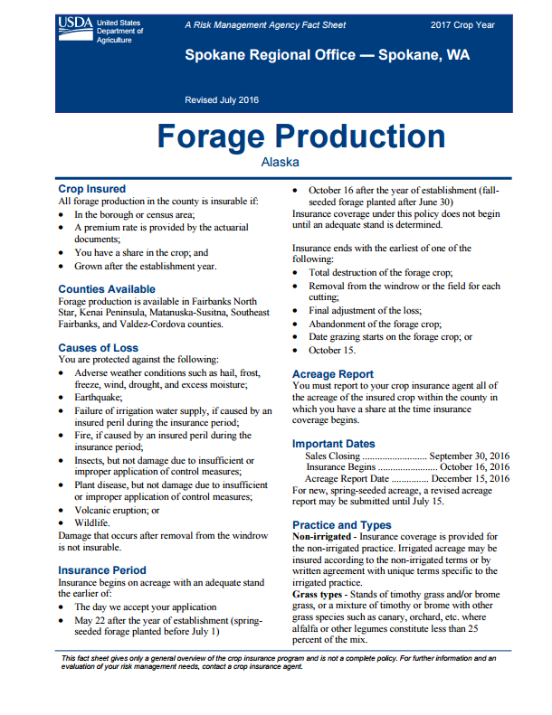 Forage Production Fact Sheet