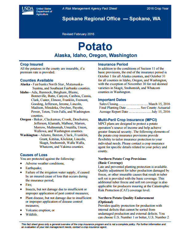 Potato Fact Sheet