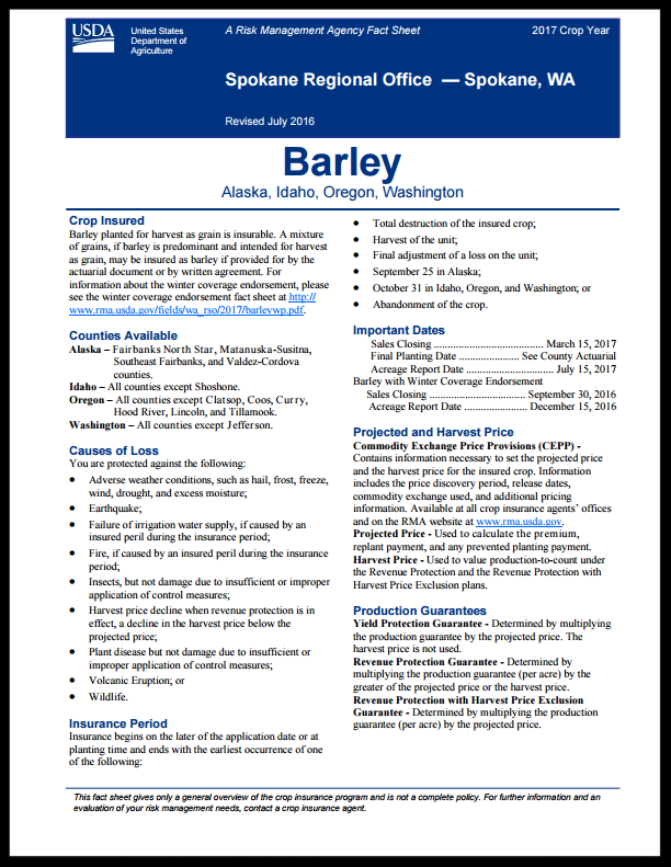 Barley Fact Sheet
