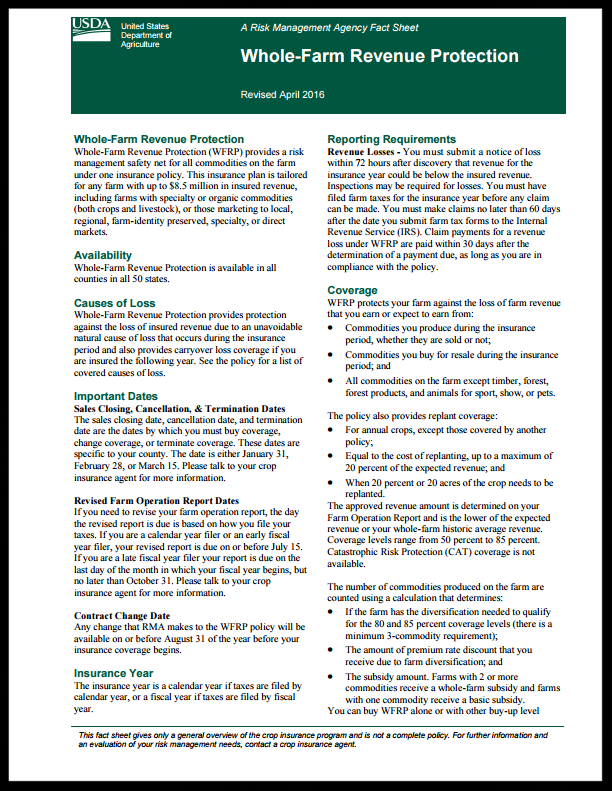 Whole Farm Revenue Protection Fact Sheet