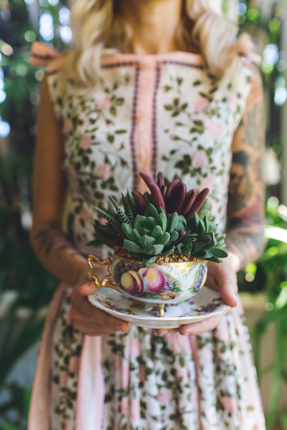 Madison Binder showing off a tea cup succulent arrangement by o'berry's succulents. Photography by Bridge + Bloom.