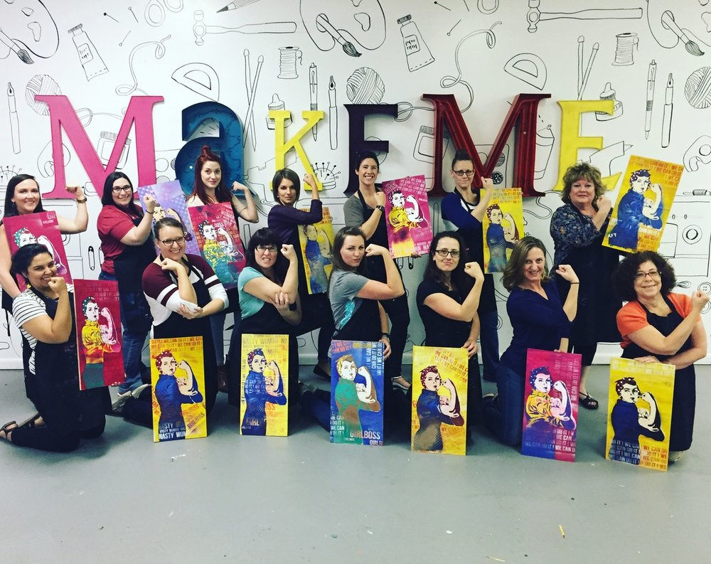 "makeme says ""You can do it"". Photo from a recent makeme group class."