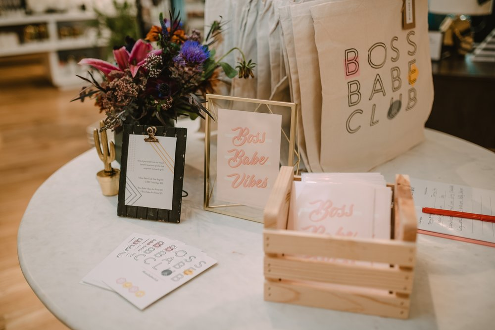 "Image from our July Pop Up at West Elm in Hyde Park Village in collaboration with Florist Fire. Aren't our new ""Boss Babe Vibes"" art prints by The Weekend Creative cute?! Photo by Regina As The Photographer."