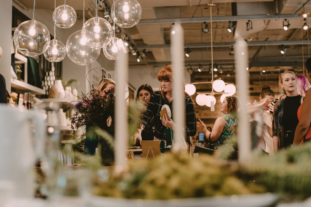 Boss Babe Club + Florist Fire Pop Up in July of 2017 at West Elm. Photo by Regina As The Photographer.