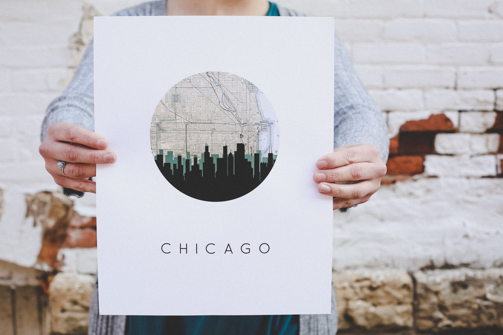 Chicago skyline print by PaperFinch Design.