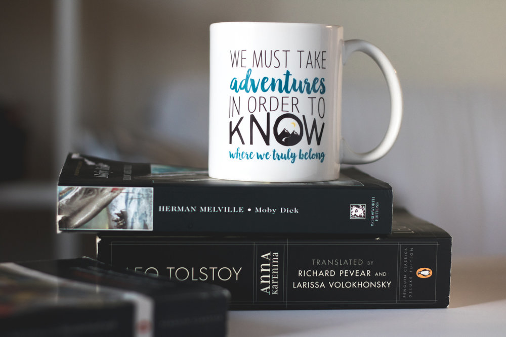 Adventure quote mug by PaperFinch Design.