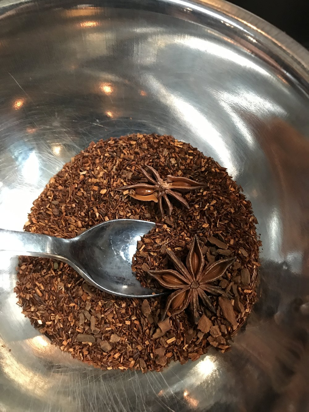 We made our own tea blends to try with TeBella Tea Company. This is cinnamon, anise, and cacao nibs.