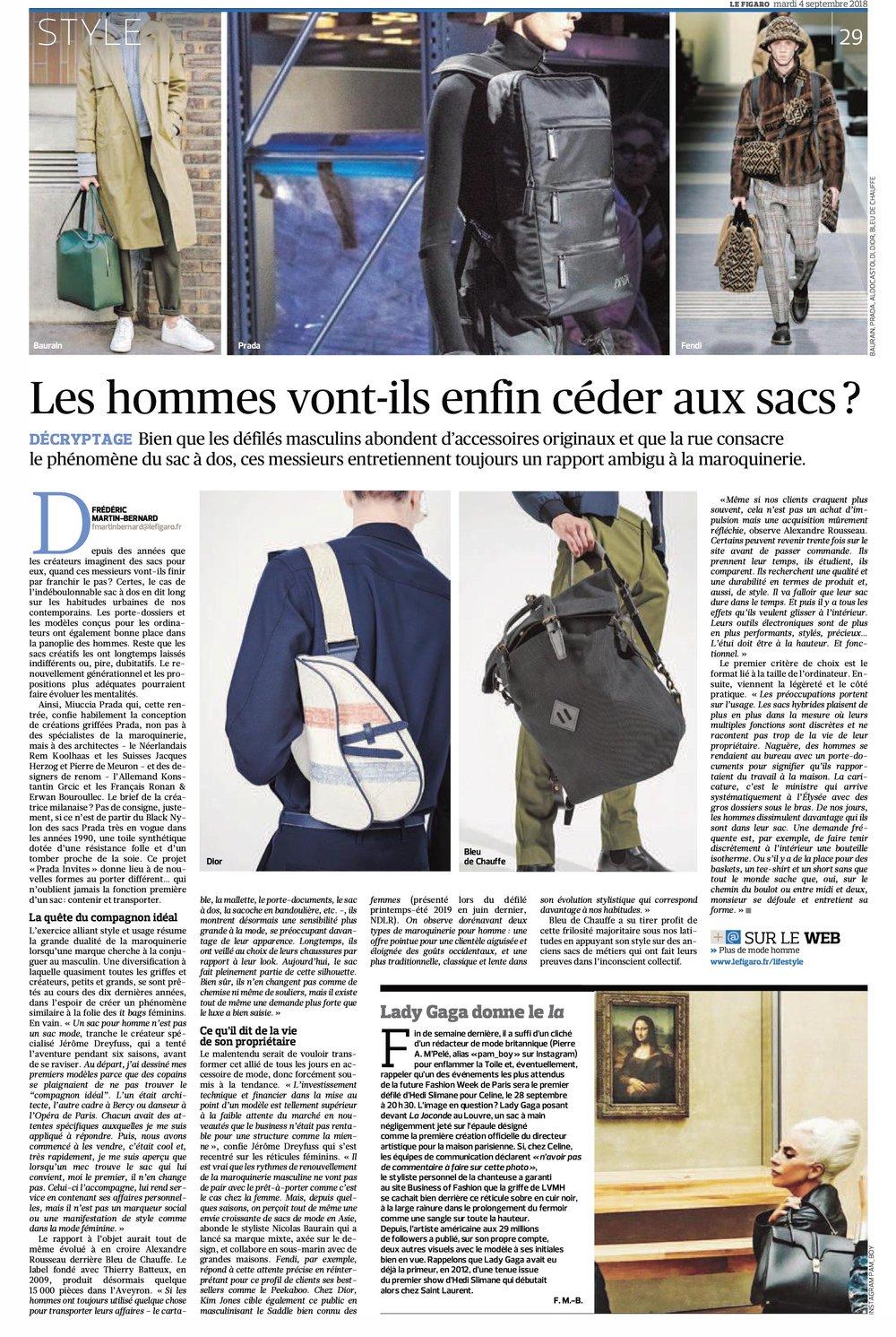 BAURAIN in Le Figaro September 2018