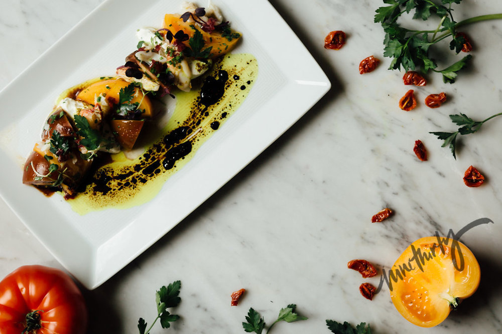 Heirloom tomato salad - black truffle dressing