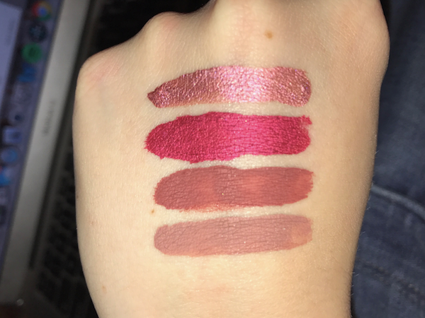 From top to bottom (All Milani Amore Matte Lip Cremes), the DRIED formula: Metallic Cinematic Kiss, Metallic Matte About You, Amore Matte Loved, Amore Matte Adorable.