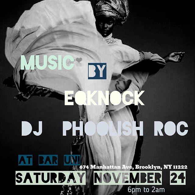 TONIGHT ... music by @eqknock and @dj_phoolishroc #free #nocover #greenpoint #brooklyn