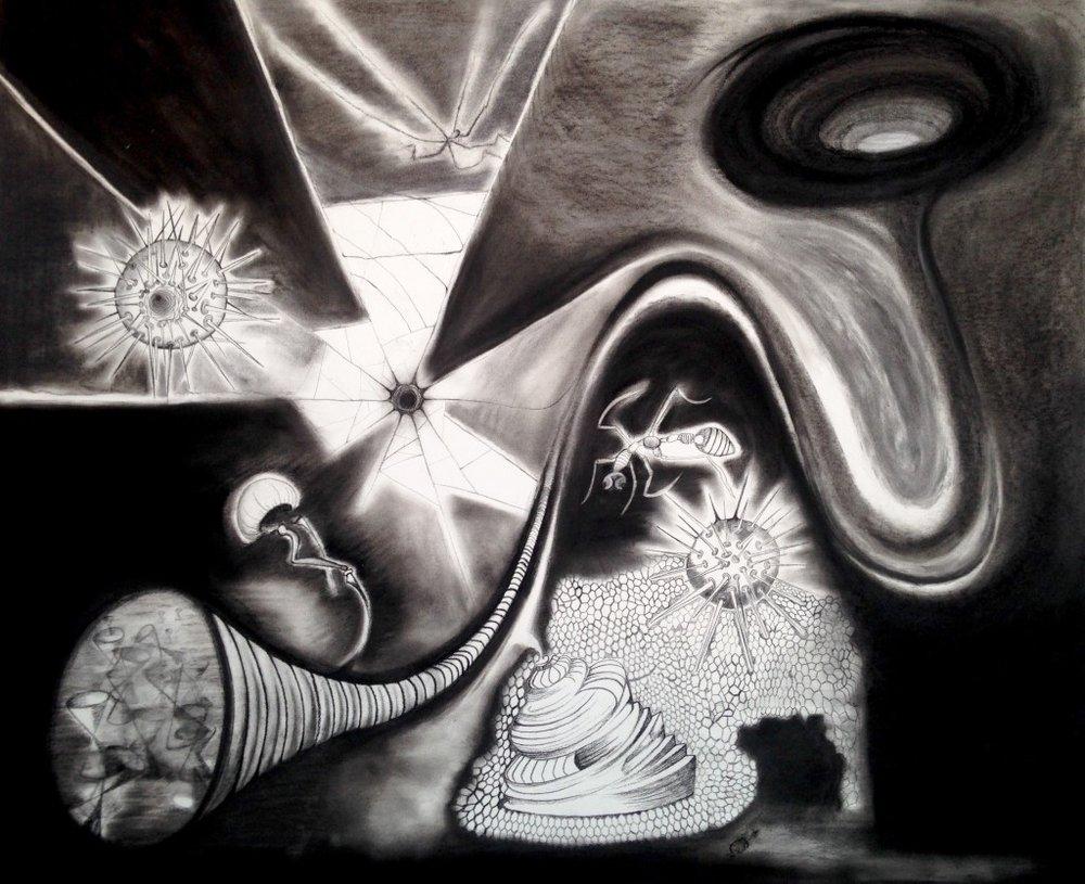 "Dreamscape. Charcoal on board. 2016.  24"" x 36"""