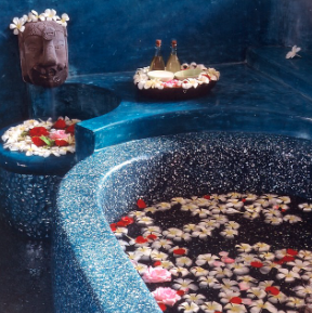 Flower bath at Bodyworks Spa.