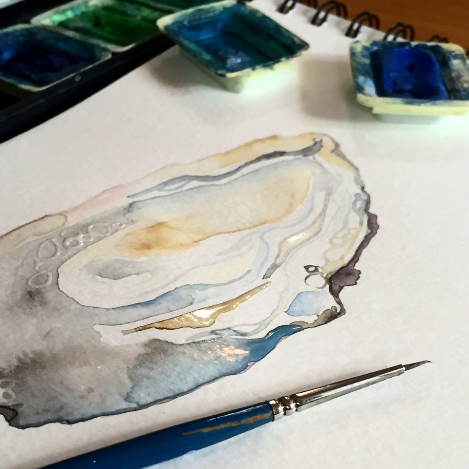 A glimpse of one of my organic watercolor paintings in progress. I like to experiment with different mediums, from inks to oils but the unpredictable fluidity of watercolors makes them my favorite to paint with.