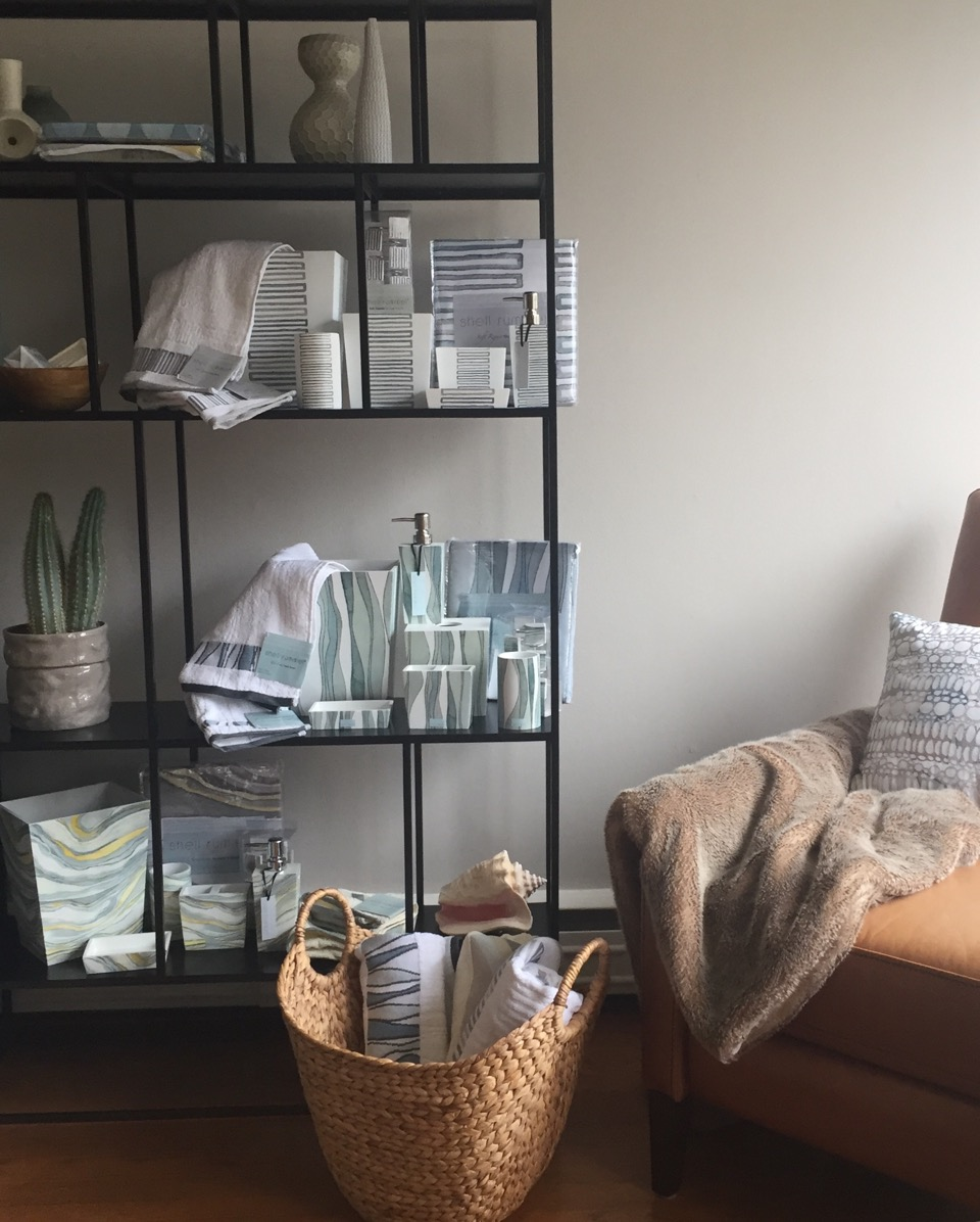 A recent vignette of some of our newest bath accessories and textiles. The modern shelving unit is a great prop for styling our new product lines during photo shoots.