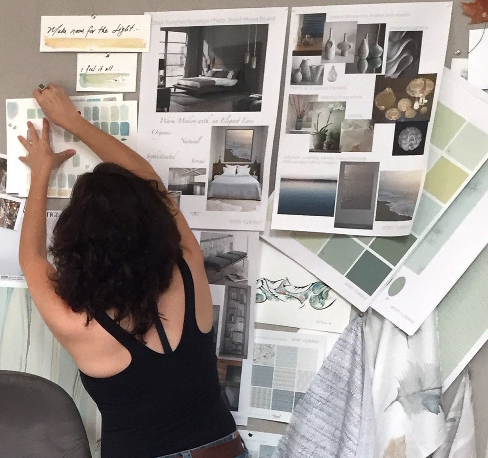 The linen covered mood board behind my desk constantly changes as images and ideas come to mind. It is a visual storyboard that breathes life to those ever important creative sparks.