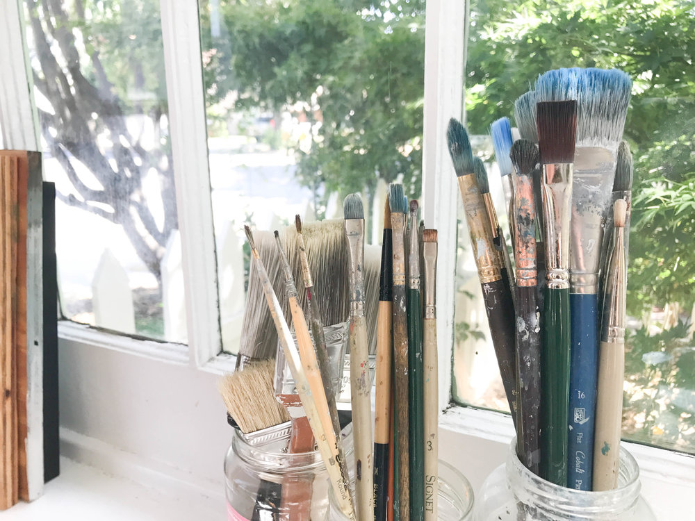 My favorite brush is this blue size 16 flat brush from Princeton At & Brush Co. My landscapes are hazy and atmospheric, this brush is a blending work horse.