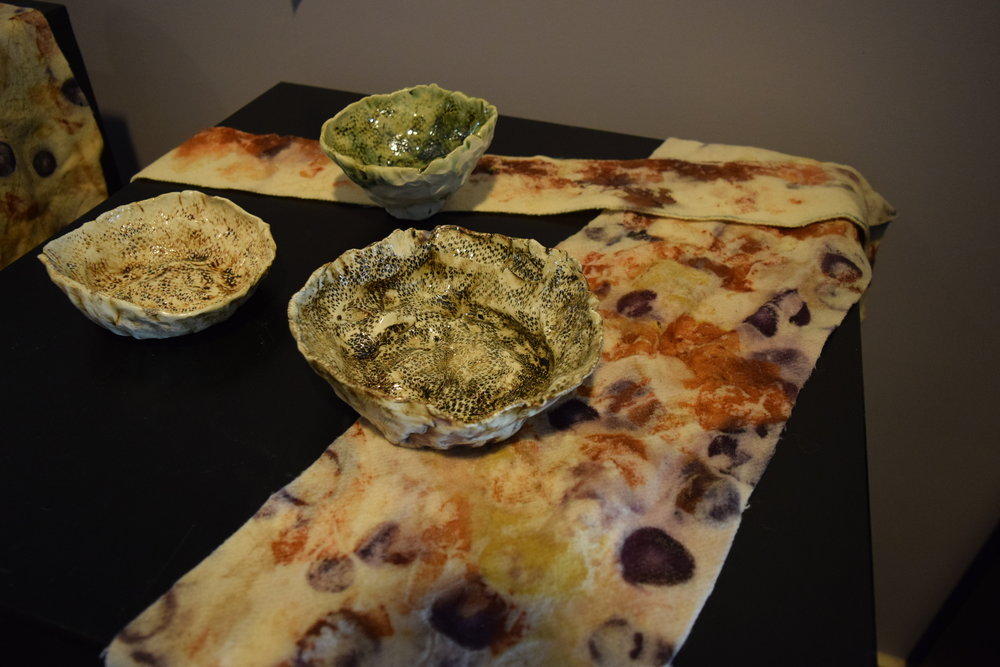Clay and eco-dyed works by Tara Denny