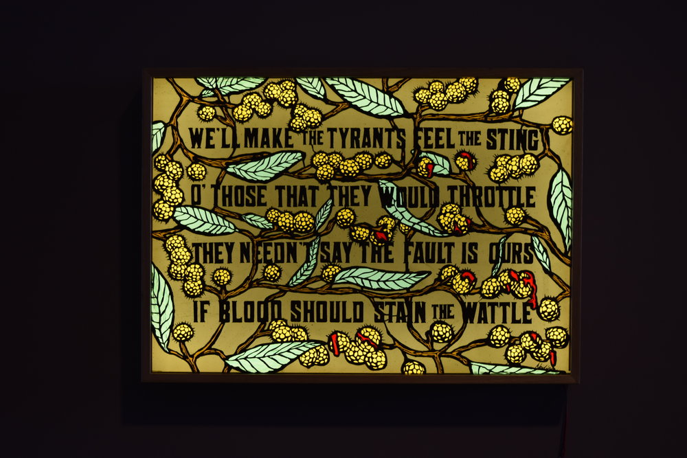 """Nadine Keegan """"Blood on the Wattle"""" New and recycled glass, lightbox  See more of her work   HERE"""