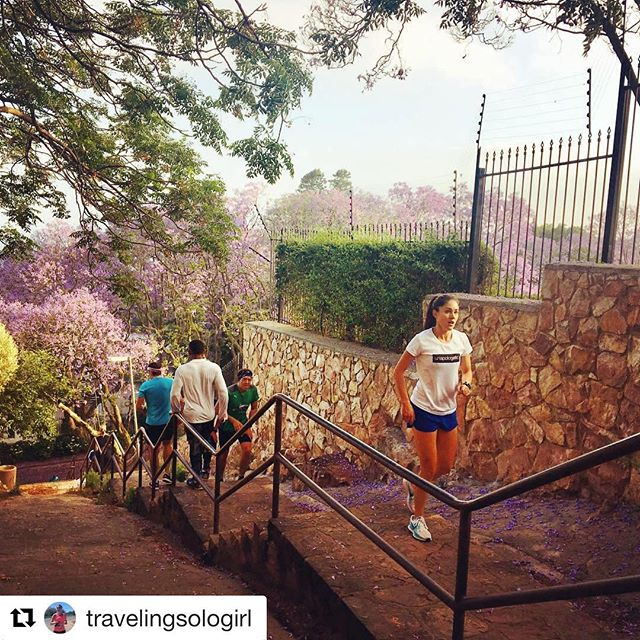 Great to see @travelingsologirl connecting with the community 🏃‍♀️😊 ••• Finding my Joburg running tribe with the help of @runwithme.world . . #running #runwithme #morningrun #stairs #runningstairs #runjoburg #runrunrun #runningirl #instarunners #johannesburg #joburg #gosolo #travel #cityexplore #onrunning #runonclouds
