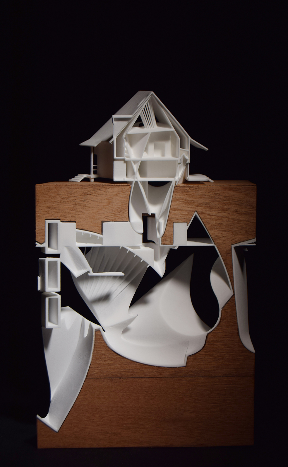 The house of ambiguity space and paper 3d print wood veneer house model house of leaves space and paper jeuxipadfo Gallery