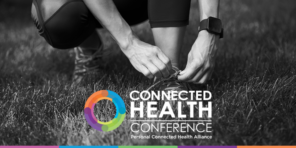 Connected Health Conference, Personal Connected Health Alliance, PCHA, black and white photo of a person tying their running shoes in a field