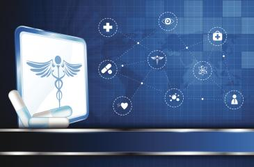 Rod  of Asclepius medical symbol surrounded by connected health icons