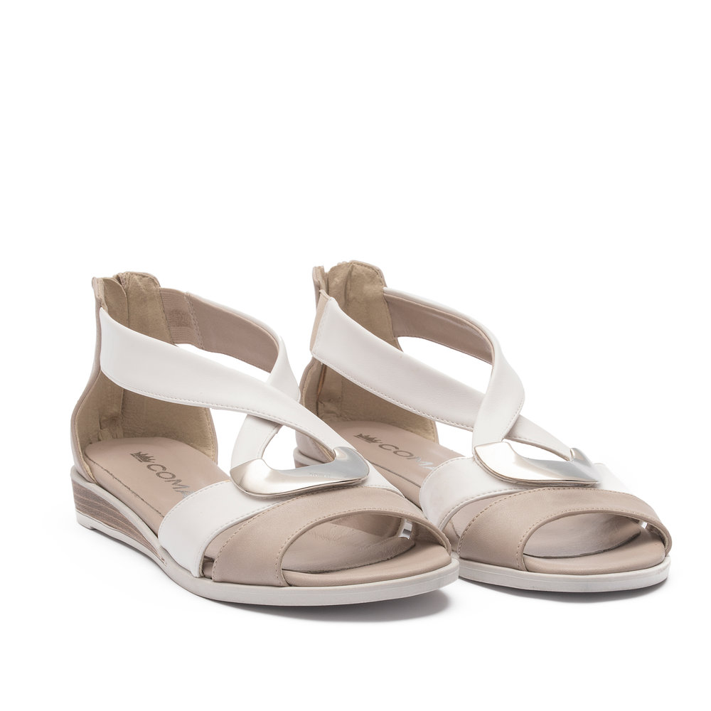 371988 - Sandal with upper in white and taupe microfibre, natural leather effect sole and nickel-free accessory.