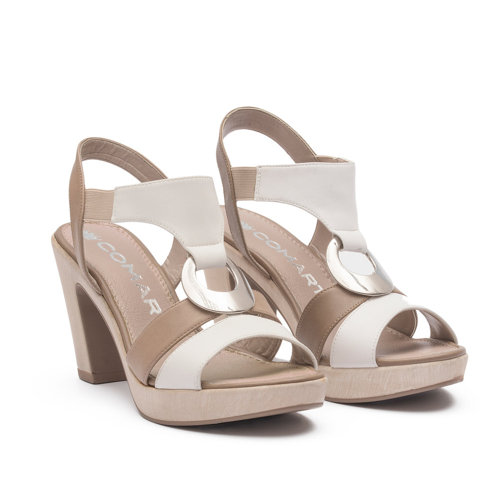 221896 - Sandal with upper in white and taupe microfibre, natural polyurethane sole, beige elastic bands and nickel-free accessory.