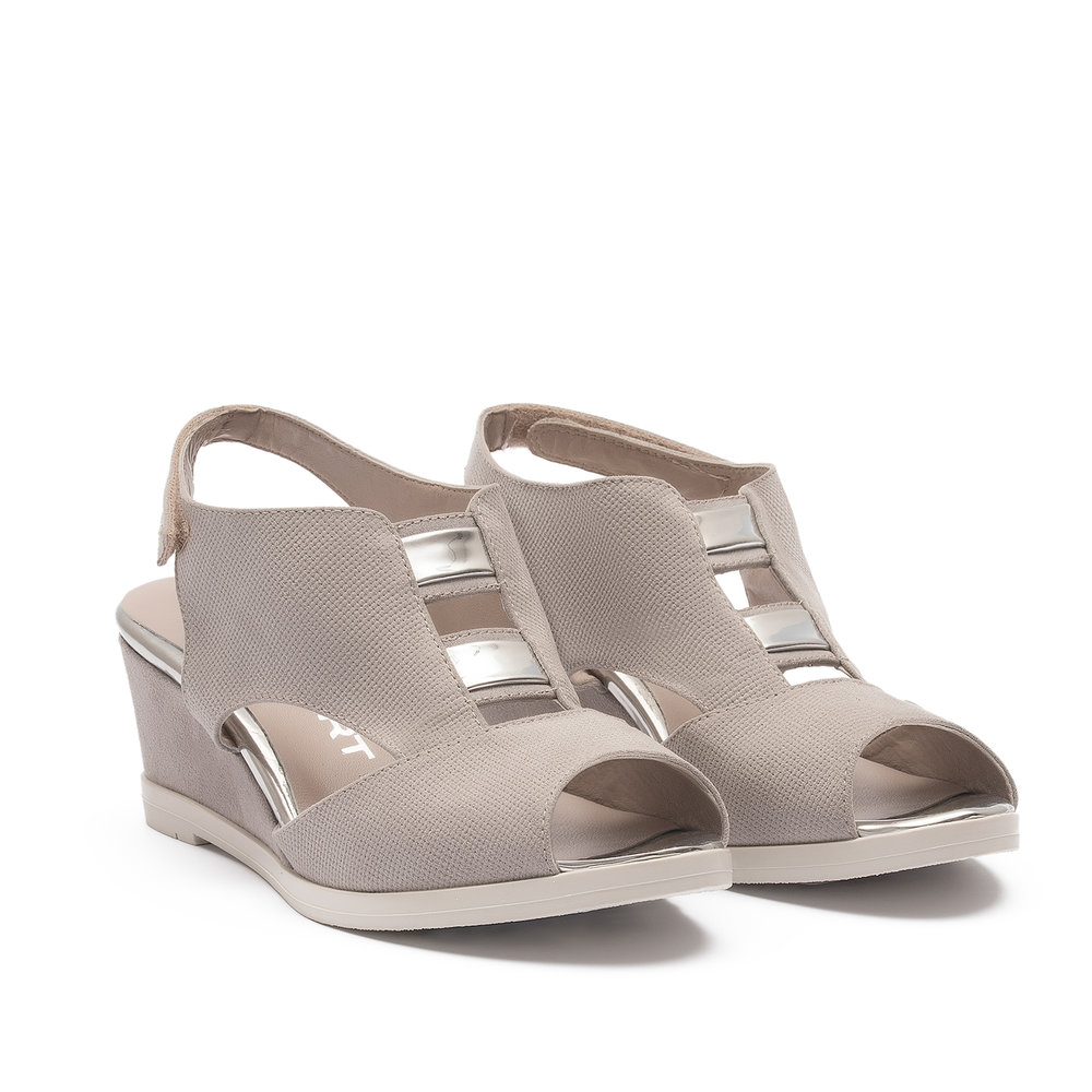 551893 - Sandal with upper in punched grey fabric suede with details in silver-coloured mirrored laminate, covered wedge heel and ice-coloured sole.