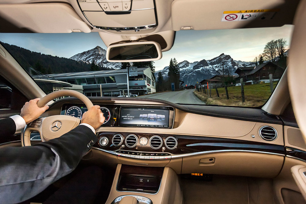 This is the passenger's perspective when driving with us and our luxurious limousines through Gstaad, our mountains and other parts of Switzerland and Europe.