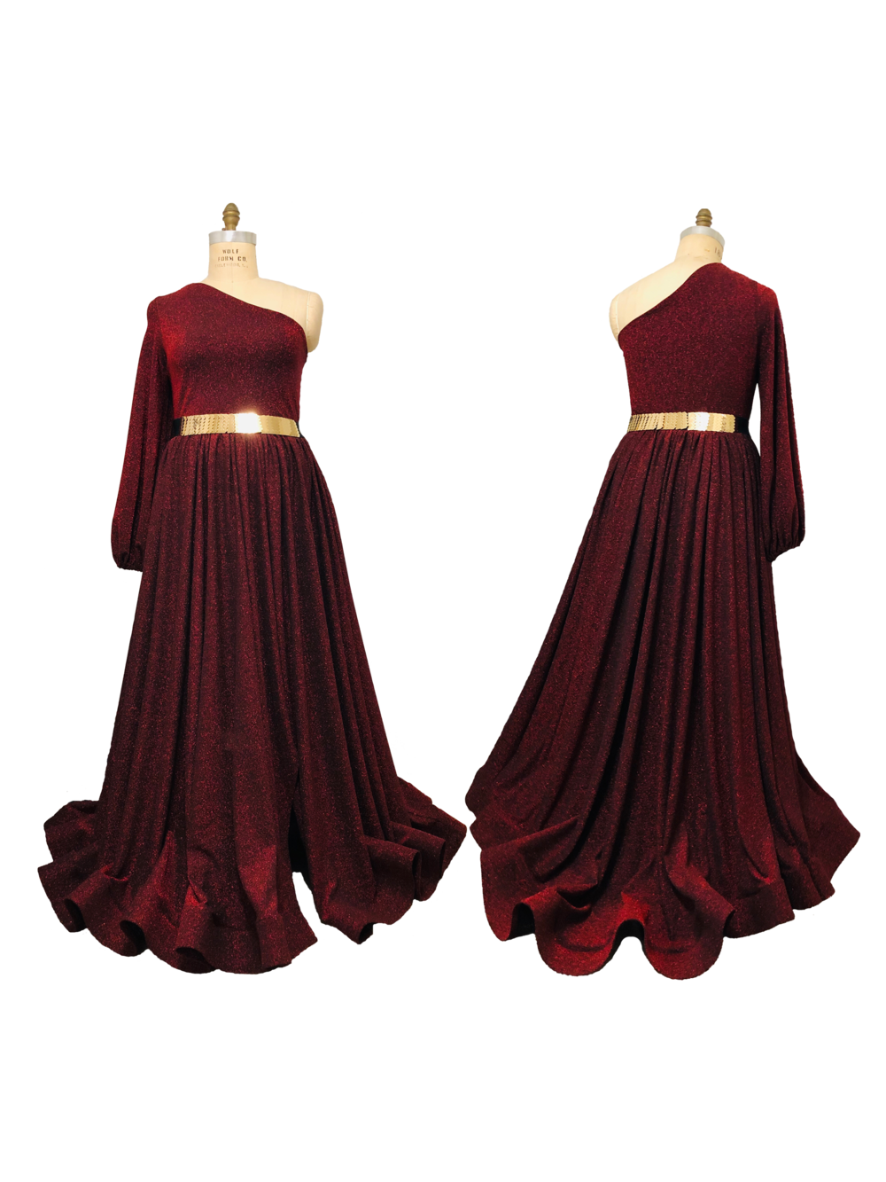 Red Sparkle One Shoulder Maxi Dress with pockets, split, and long train