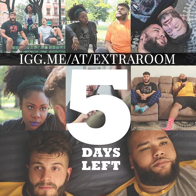 Five days left in our Extra Room Indiegogo Campaign. Visit igg.me/at/extraroom to donate today! #webseries #gay #gaywebseries #2019goals #comingsoon #2019 #indiegogo #bears #gaybears #gaycute #friends #love #extraroom #extraroomtheshow extraroomtheshow.com