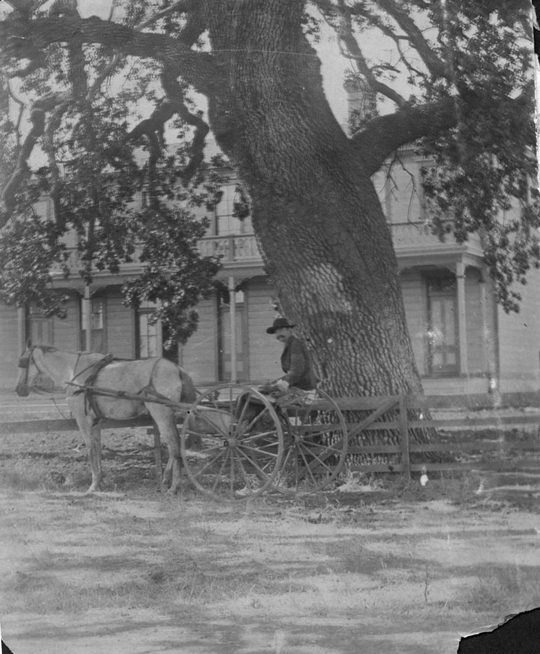 The  Conejo Hotel,  circa 1880s.  The man pictured may be E. Easley, who delivered the mail in the area.