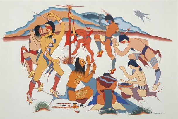 Choctaw Sick Dance, Terry Saul (Chief Terry Saul; Tobaksi, Ember of Fire or the Coal), Choctaw, Watercolor  Terry Saul's paintings center around old Choctaw customs, often based on surviving fragments of information.  Courtesy Philbrook Museum of Art, Tulsa, Oklahoma