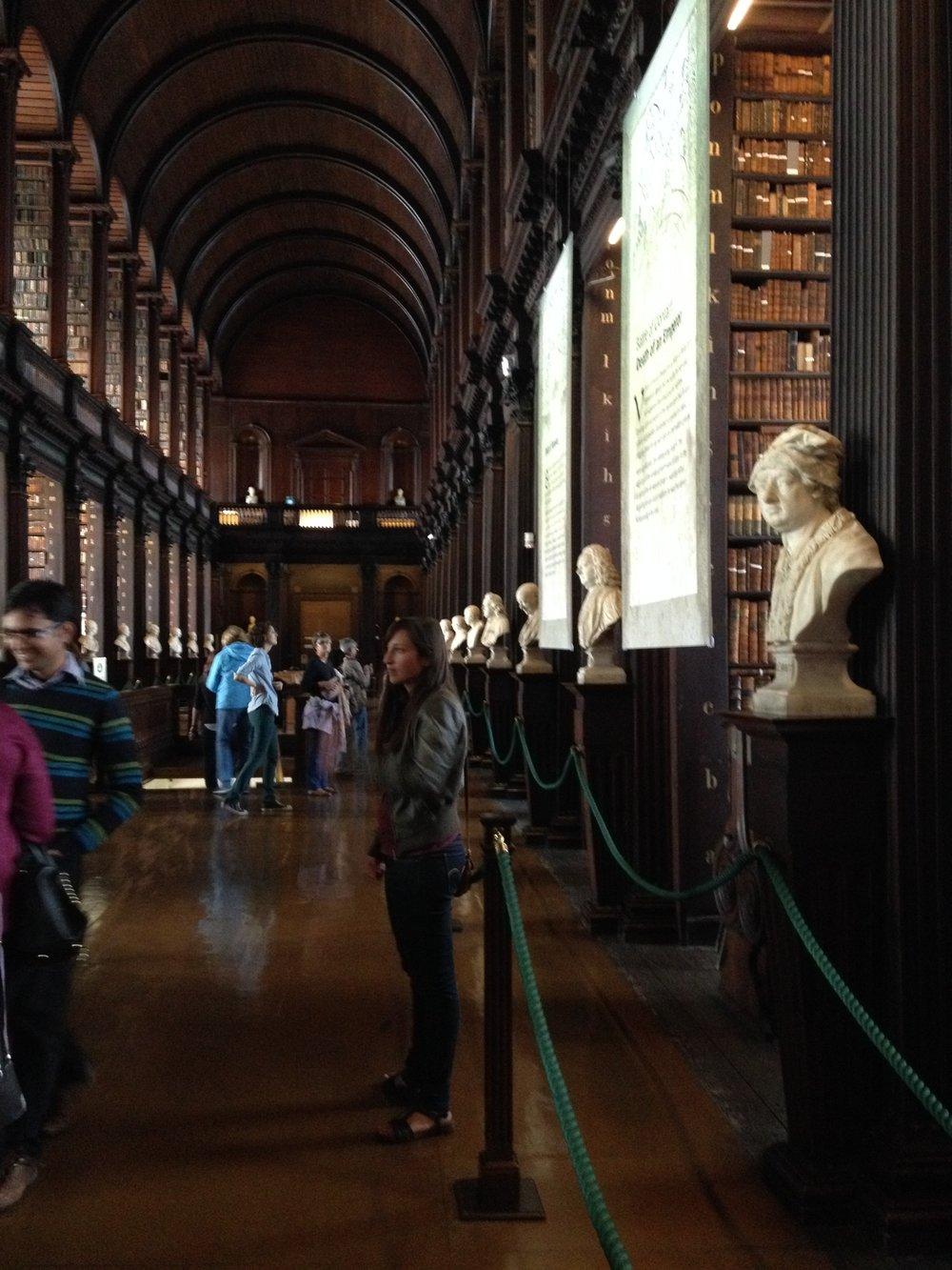 Emily's daughter, Rachel, admiring the Trinity Library in Dublin, Ireland.