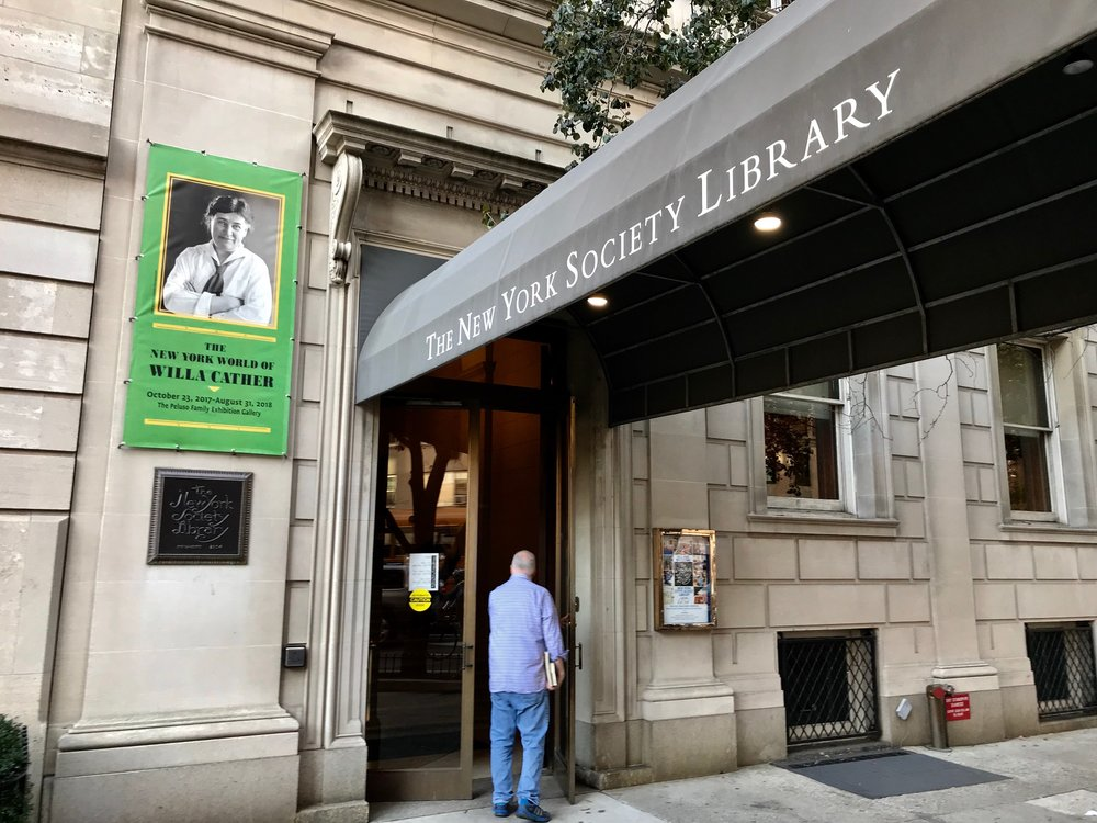 Entrance to the  New York Society Library  which is home to a WIlla Cather exhibity through August of 2018.