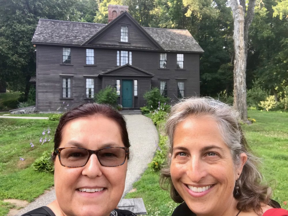 Chris and Emily on a joint jaunt in Concord, MA.  Standing in front of the   Orchard House  - Louisa May Alcott's family home where she penned  Little Women .