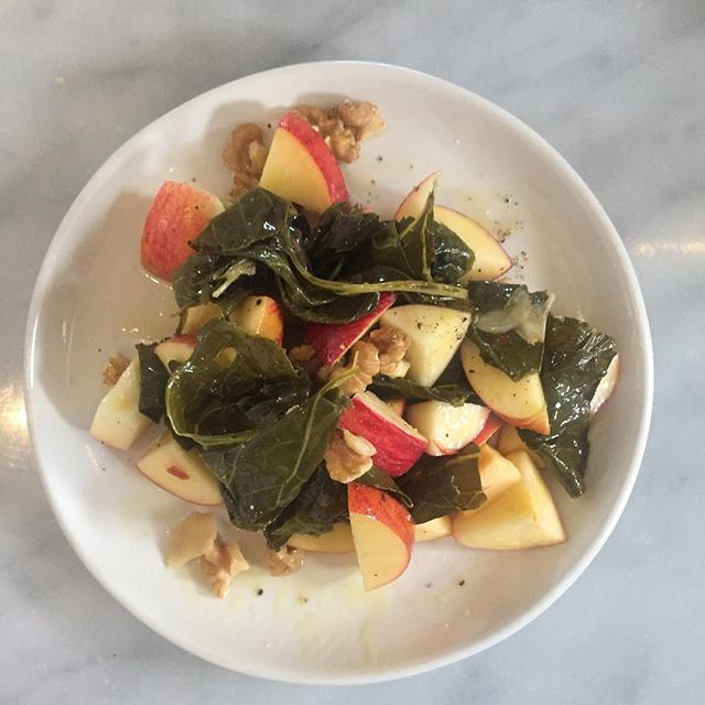 @sleepingfrogfarms white wine braised collards with gala apples coated in honey lemon vinaigrette  #eatit  #woodfiredoven #eatlocal #thisistucson #veglife