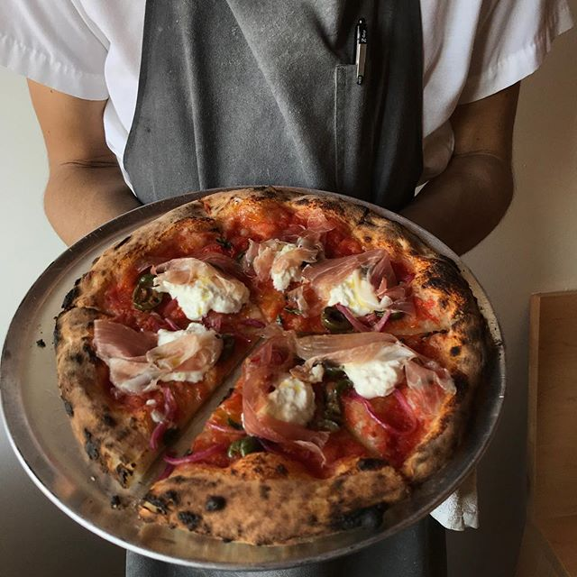 Got a one tonight! Burrata,, olives, pickled red onion and  Speck  #naturallyleavened #woodfiredoven #sourdough #pizzalife #eatit