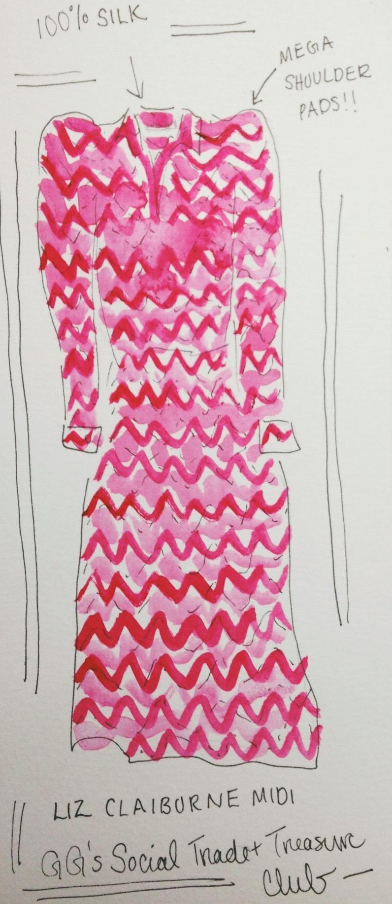Liz Claiborne silk midi dress
