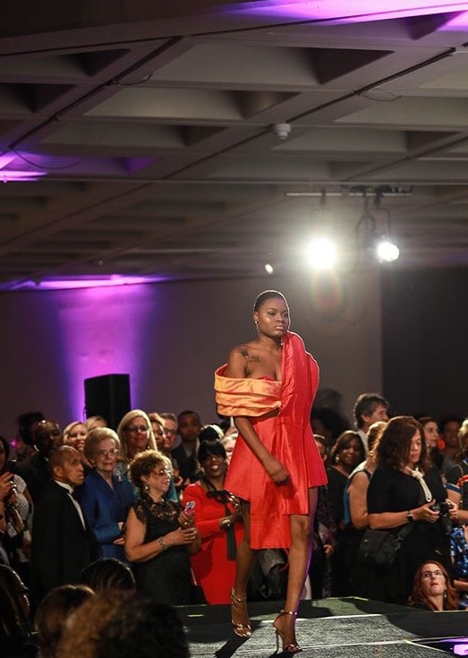 Image of a dress designed by Sarah Bischoff one of the finalists in the Ebony Fashion Fair contest.