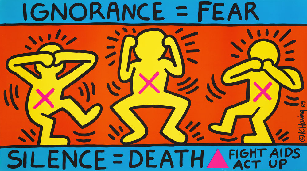 "Keith Haring painting,  Ignorance = Fear / Silence = Death, 1989part of the Whitney's exhibit ""An Incomplete HIstory of Protest."
