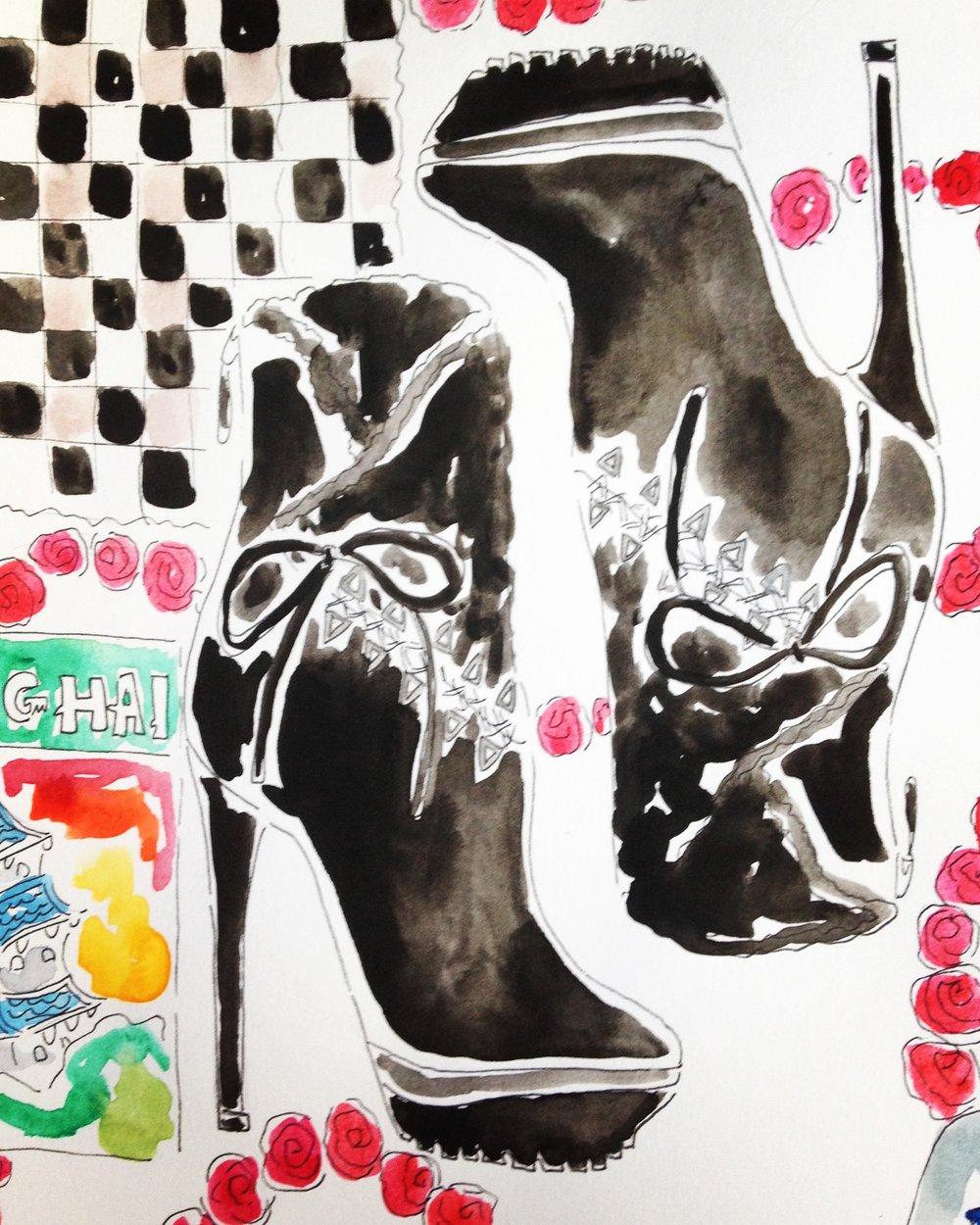 ALAÏA Leather & Velvet Platform Ankle Boots available at  Barneys New York.